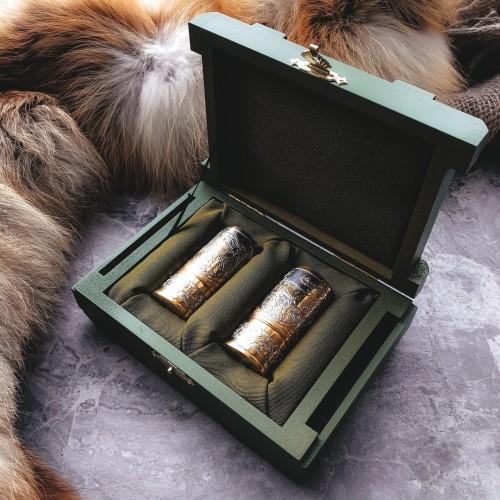 Золоченый набор рюмок - гильз (2 шт, коробка)