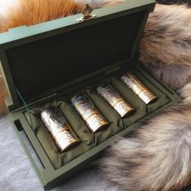 Золоченый набор рюмок - гильз (4 шт, коробка)